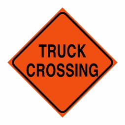 "Logging Sign - ""Truck Crossing"" - Corrugated Plastic 24"" x 24"""
