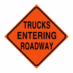 "Logging Sign - ""Trucks Entering Roadway"" - Corrugated Plastic 24"" x 24"""