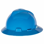 MSA V-Gard Full Brim Hard Hat - Blue