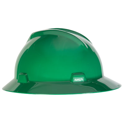 MSA V-Gard Full Brim Hard Hat - Green
