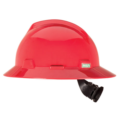 Msa V Gard Full Brim Hard Hat Red 475371