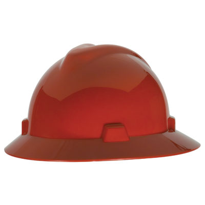 MSA V-Gard Full Brim Hard Hat - Red