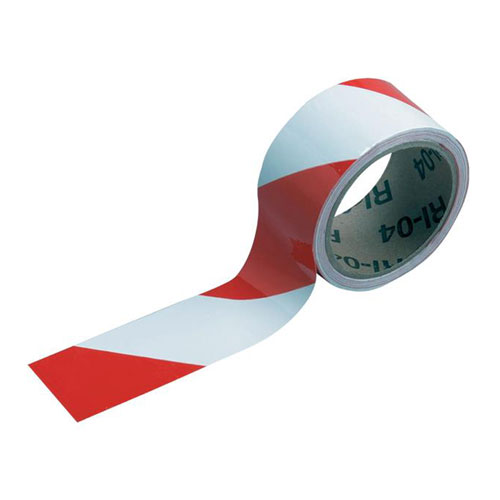 "Mutual 2"" x 54 ft Red / White Warning Stripe Tape"