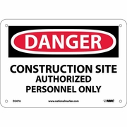 "National Marker Safety Sign - ""Danger Construction Site Authorized Personnel Only"""