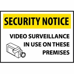 "National Marker Safety Sign - ""Security Notice Video Surveillance..."""
