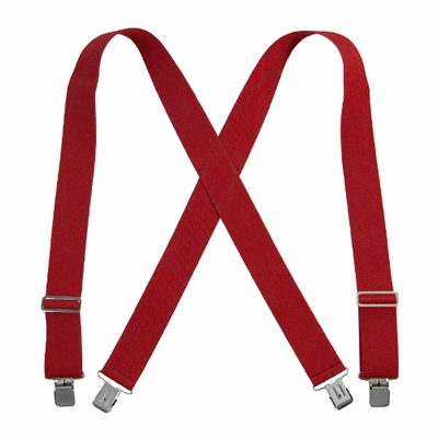 "Welch 2"" x 50"" X-Back Logger Suspenders w/ Clips - Red"