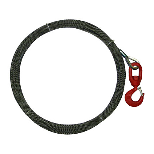 "3/8"" x 125 ft Wire Rope Winch Line - Swivel Hook - 15100 lbs Breaking Strength"