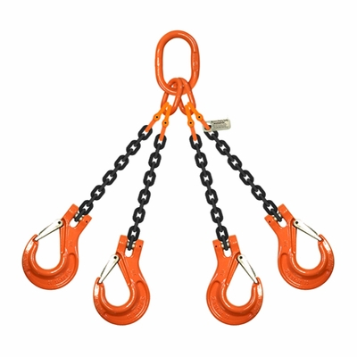 "5/8"" x 15 ft Type QOS 4-Leg Grade 100 Chain Sling - 58700 lbs WLL"