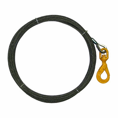 "7/16"" x 50 ft Wire Rope Winch Line - Self-Closing Swivel Hook - 20400 lbs Breaking Strength"