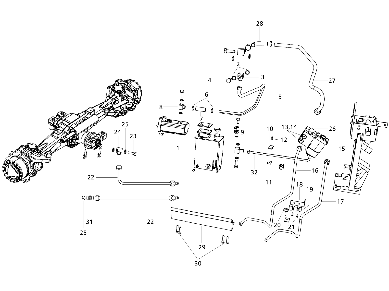 Tractor Front Axle Parts : Steering front axle parts for wheel drive