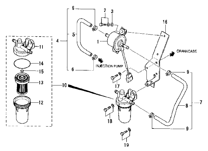 fuel system parts for 1815  1816 mahindra tractor