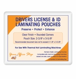 "7 MIL Drivers License & ID Card Laminating Pouches (2-3/8"" x 3-5/8"")"