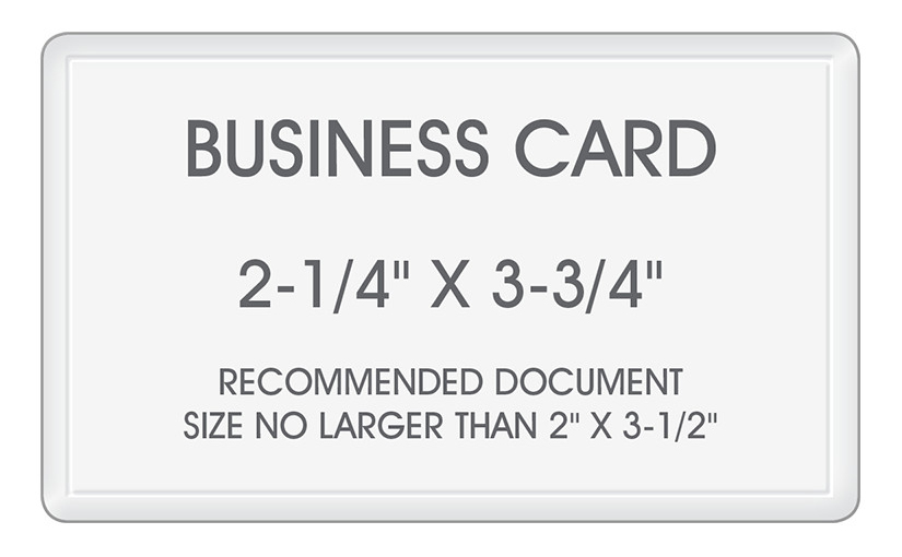 Business card laminating pouches size 2 14 x 3 34 small business card laminating pouches size 2 14 x 3 34 click to enlarge your office stops business card sized thermal hot laminating reheart Images