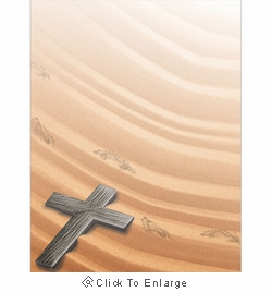 Cross with Footprints in the Sand Border Paper