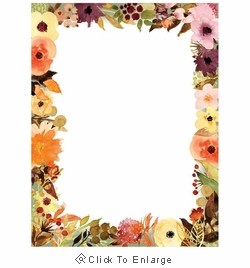 Fall Floral and Autumn Flowers Border Paper