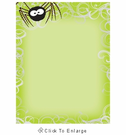 Green Spider Swirls Halloween Border Paper