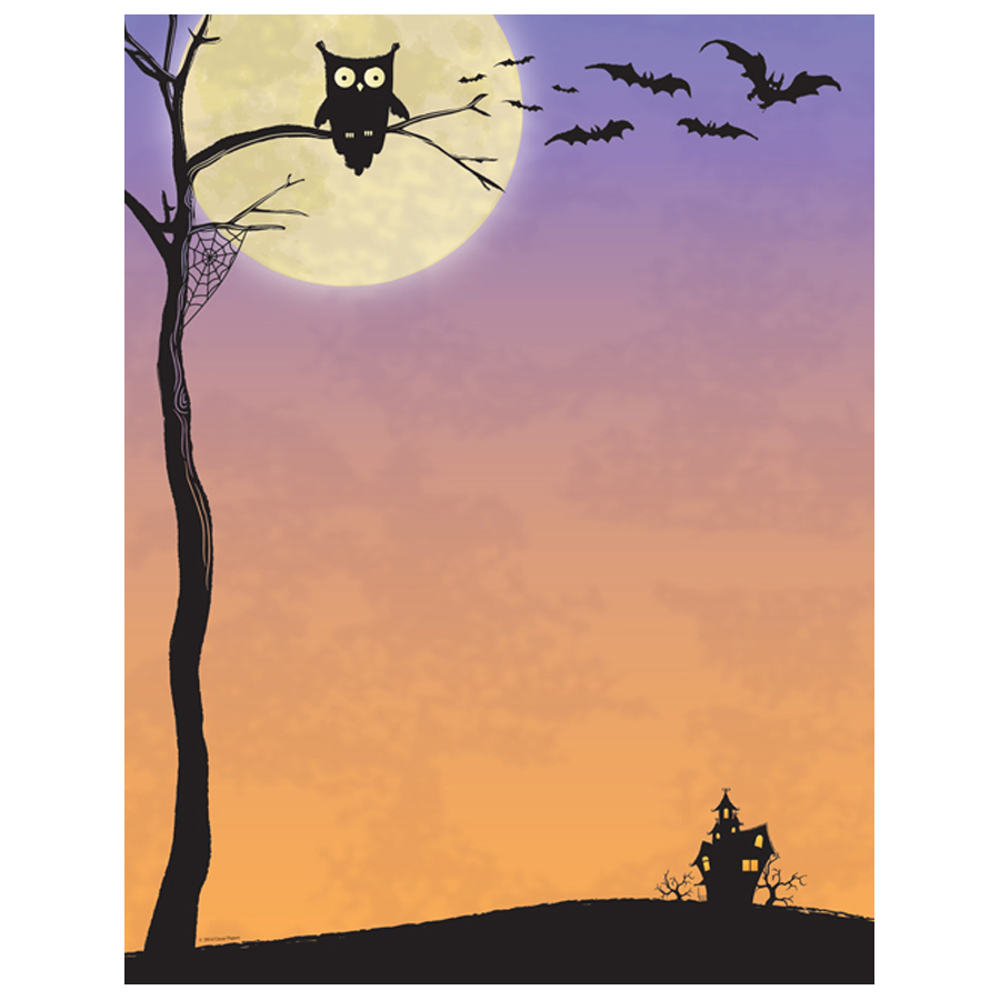 Halloween Who Owl, Bats & Haunted House Border Paper Get an ...