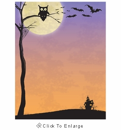 Halloween Who Owl, Bats & Haunted House Border Paper