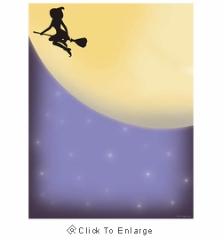 Midnight Magic Witch on Broomstick Halloween Border Paper