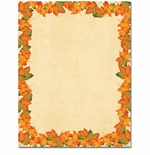 Painted Maple Fall Leaves Border Paper