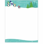 Penguins Playing in the Snow Christmas Holiday Printer Paper