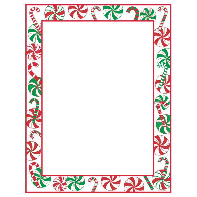 peppermint party christmas border holiday printer paper