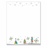 Prismatic Rainbow Christmas Trees and Snowflakes Holiday Printer Paper