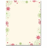 Red & Green Flakes Christmas Holiday Printer Paper