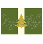 """Silver & Gold """"Happy Holidays"""" Christmas Tree Imprintable Greeting Card Stock"""