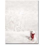 Snowman In Red Scarf Christmas Holiday Printer Paper