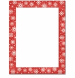 Snowy Flakes Red Border Christmas Holiday Printer Paper