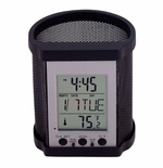 Victor Pencil Cup with Time, Temp and Date - Black Mesh