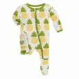 Kickee Pants | Classic Ruffle Zip Footie: Natural Pineapple