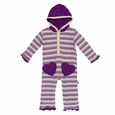 Kickee Pants | Hoodie Romper - Girl Perth Stripe