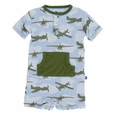 Kickee Pants | Kangaroo Romper: Pond Airplanes