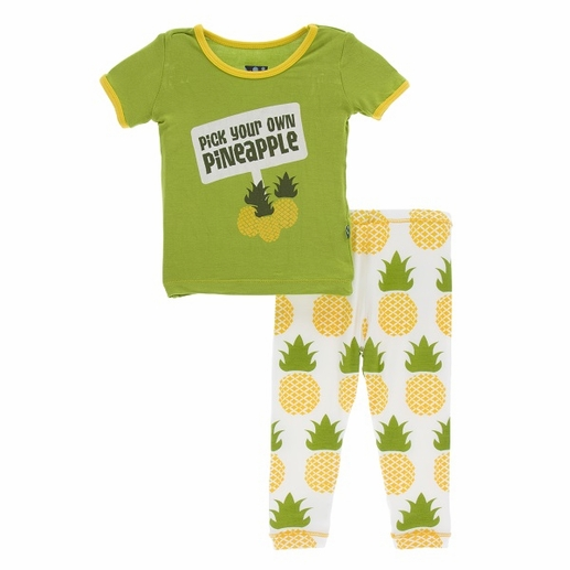 Kickee Pants | Pajama's: Natural Pineapple