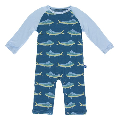 Kickee Pants | Raglan Romper - Twilight Dolphin Fish