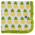 Kickee Pants | Ruffle Toddler Blanket: Natural Pineapple