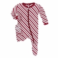Kickee Pants | Zipper Footie - Crimson Candy Cane Stripe