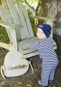 L'ovedbaby Footless Overall   Navy Stripe