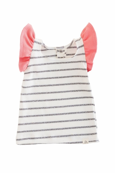 Lulu + Roo| Coastal Stripe and Coral Flutter Top