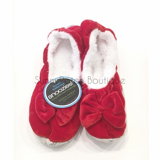 Snoozies: Tween Velvet Ballerina - Red