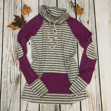 Women's Funnel Neck Raglan - Raspberry