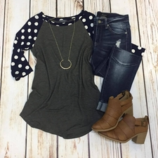 Women's Polka Dot Raglan Top