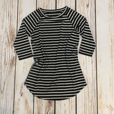 Women's Striped Raglan Tee | Black & White