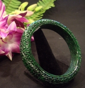 Imperial Green Carved Jade Bangle