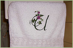 Bath towel with Elegant Floral Initials