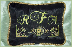 Black Pillow with Castle Monogram