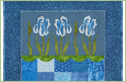 Blue Quilt with Irises