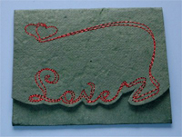 Card, Embroidered On Mulberry Paper